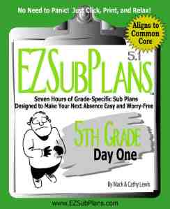 Click on the cover to preview or purchase emergency sub plans for 5th grade