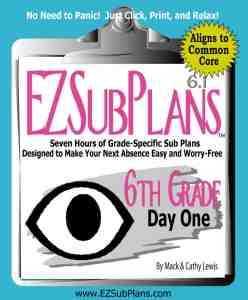 Click on the cover to preview or purchase emergency sub plans for 6th grade
